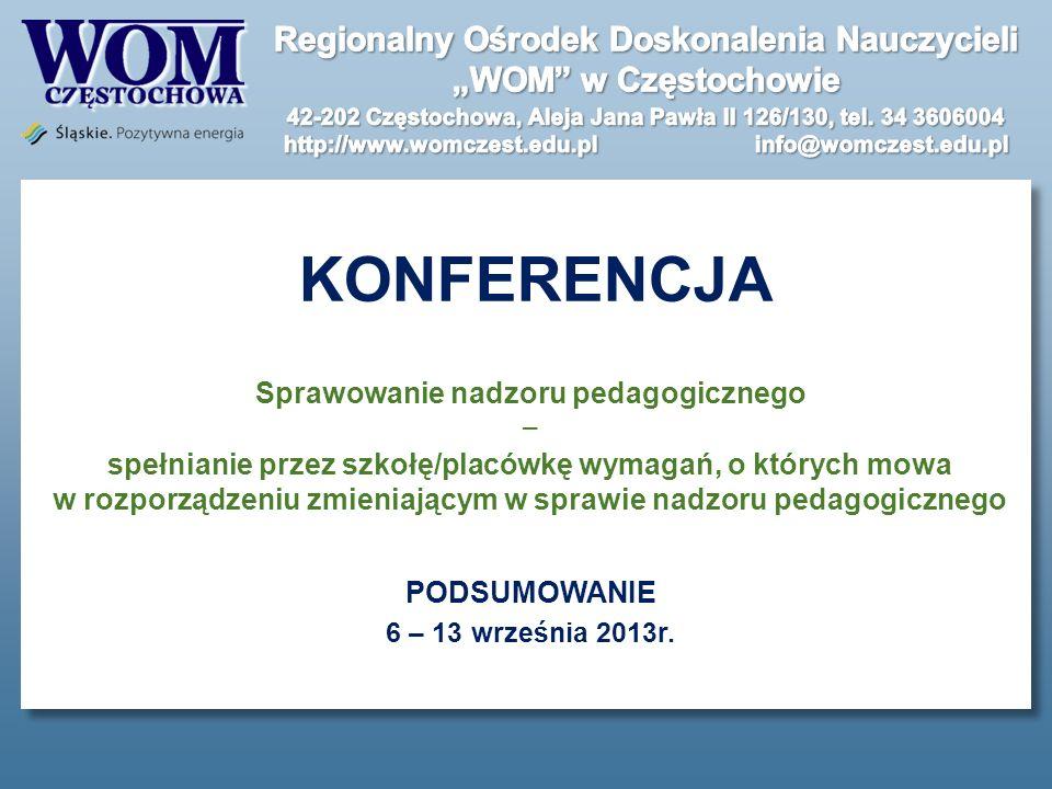KONFERENCJA Sprawowanie nadzoru pedagogicznego spełnianie przez szkołę/placówkę wymagań, o których mowa w rozporządzeniu zmieniającym w sprawie nadzor