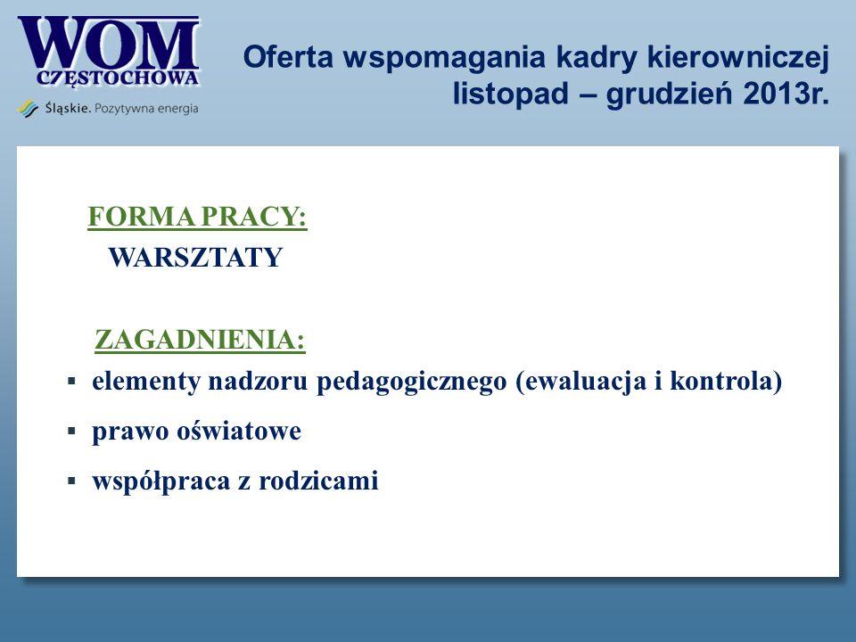 Oferta wspomagania kadry kierowniczej listopad – grudzień 2013r. FORMA PRACY: WARSZTATY ZAGADNIENIA: elementy nadzoru pedagogicznego (ewaluacja i kont