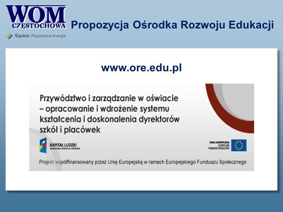 Propozycja Ośrodka Rozwoju Edukacji www.ore.edu.pl