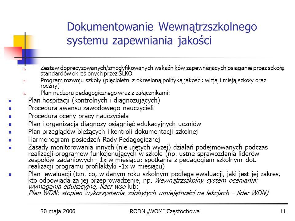30 maja 2006RODN WOM Częstochowa11 Dokumentowanie Wewnątrzszkolnego systemu zapewniania jakości 1. Zestaw doprecyzowanych/zmodyfikowanych wskaźników z