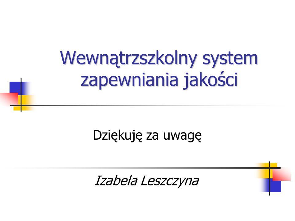 Wewnątrzszkolny system zapewniania jakości Dziękuję za uwagę Izabela Leszczyna