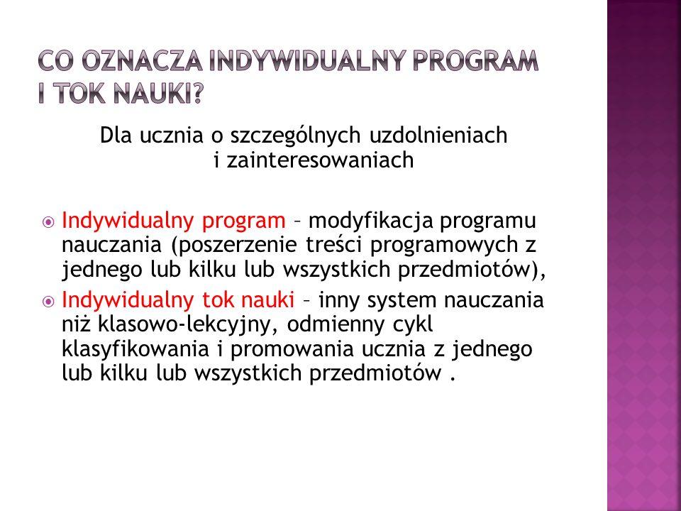 Dla ucznia o szczególnych uzdolnieniach i zainteresowaniach Indywidualny program – modyfikacja programu nauczania (poszerzenie treści programowych z j