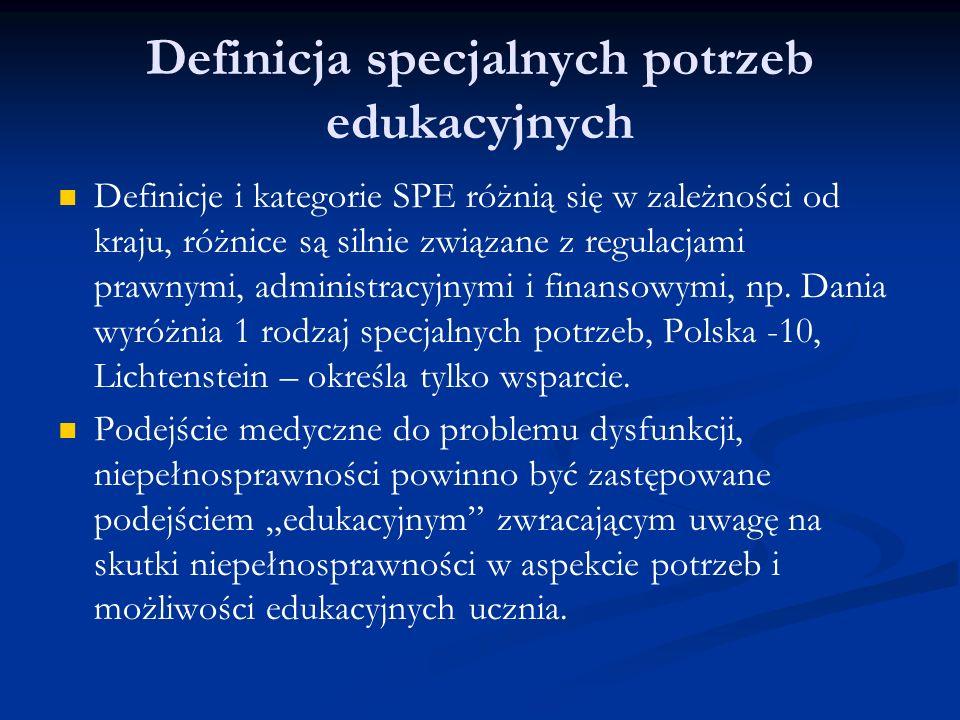 Definicja specjalnych potrzeb edukacyjnych Definicje i kategorie SPE różnią się w zależności od kraju, różnice są silnie związane z regulacjami prawny