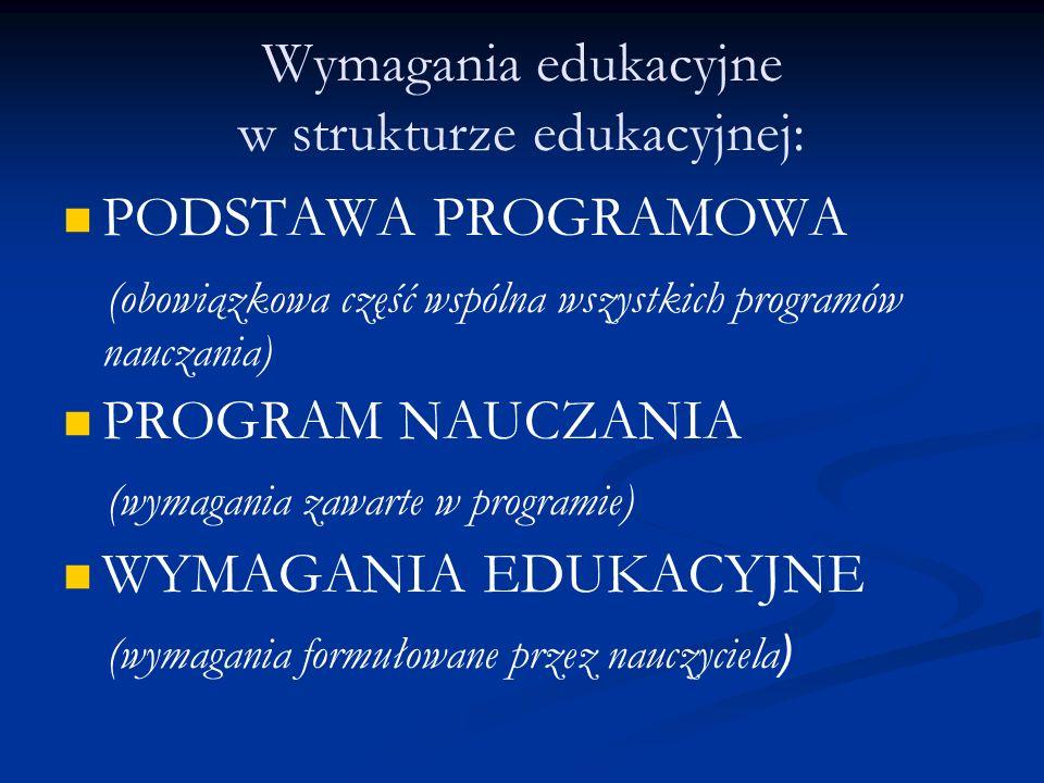 Wymagania edukacyjne w strukturze edukacyjnej: PODSTAWA PROGRAMOWA (obowiązkowa część wspólna wszystkich programów nauczania) PROGRAM NAUCZANIA (wymag