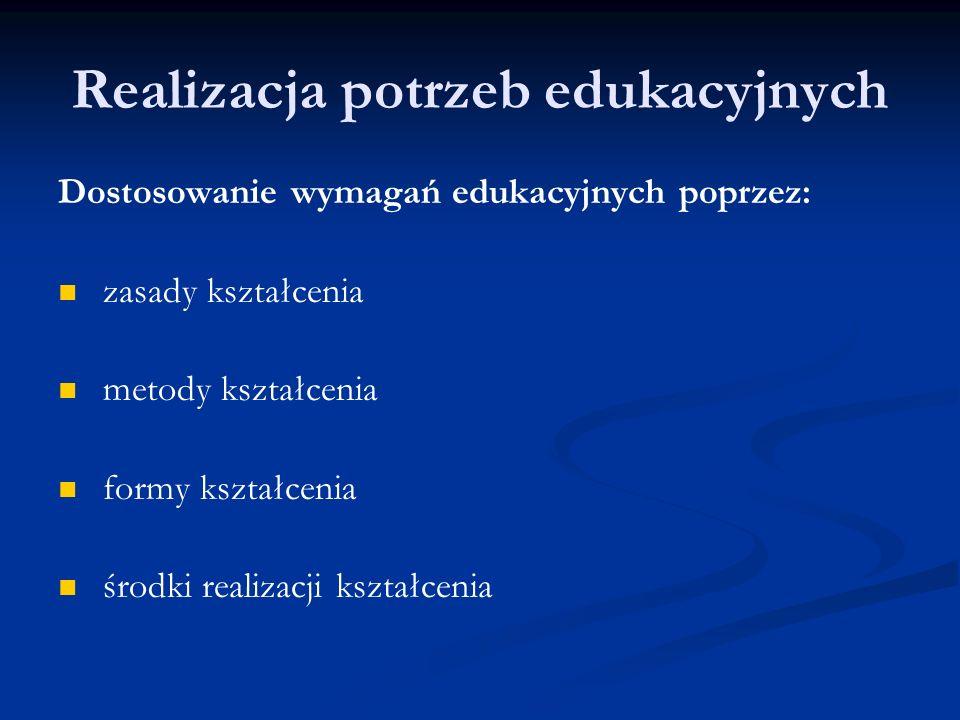 Realizacja potrzeb edukacyjnych Dostosowanie wymagań edukacyjnych poprzez: zasady kształcenia metody kształcenia formy kształcenia środki realizacji k