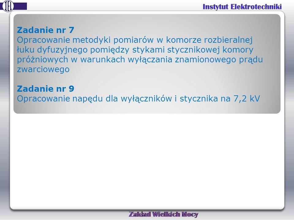 Zadanie nr 7 Opracowanie metodyki pomiarów w komorze rozbieralnej łuku dyfuzyjnego pomiędzy stykami stycznikowej komory próżniowych w warunkach wyłączania znamionowego prądu zwarciowego Zadanie nr 9 Opracowanie napędu dla wyłączników i stycznika na 7,2 kV