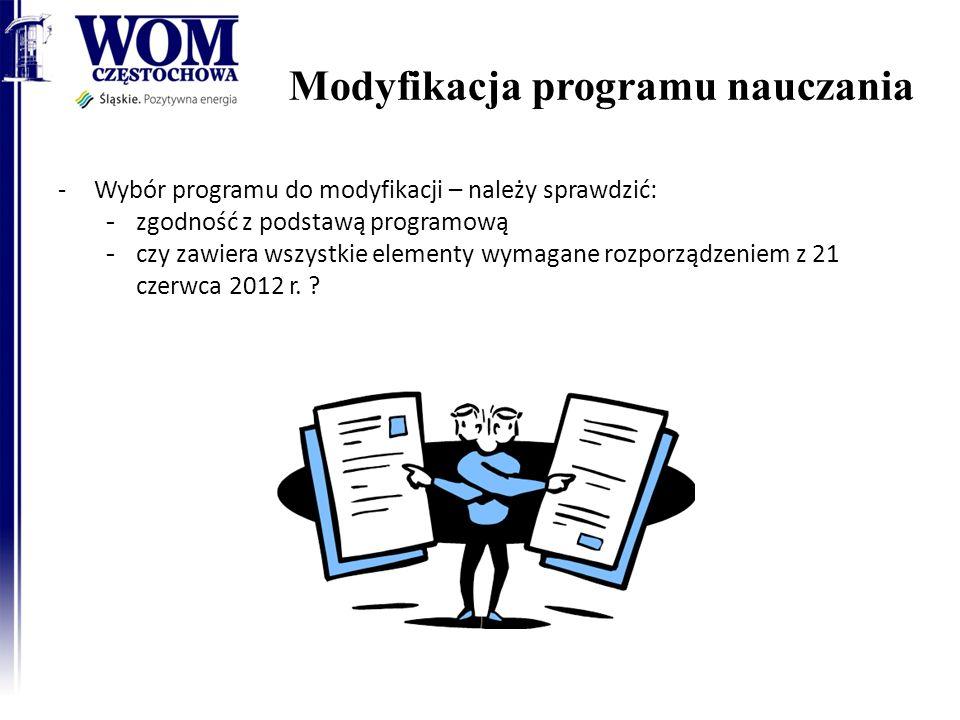 Modyfikacja programu nauczania 12 -Wybór programu do modyfikacji – należy sprawdzić: - zgodność z podstawą programową - czy zawiera wszystkie elementy wymagane rozporządzeniem z 21 czerwca 2012 r.