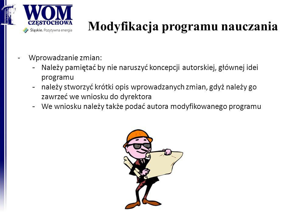 Modyfikacja programu nauczania 13 -Wprowadzanie zmian: - Należy pamiętać by nie naruszyć koncepcji autorskiej, głównej idei programu - należy stworzyć krótki opis wprowadzanych zmian, gdyż należy go zawrzeć we wniosku do dyrektora - We wniosku należy także podać autora modyfikowanego programu