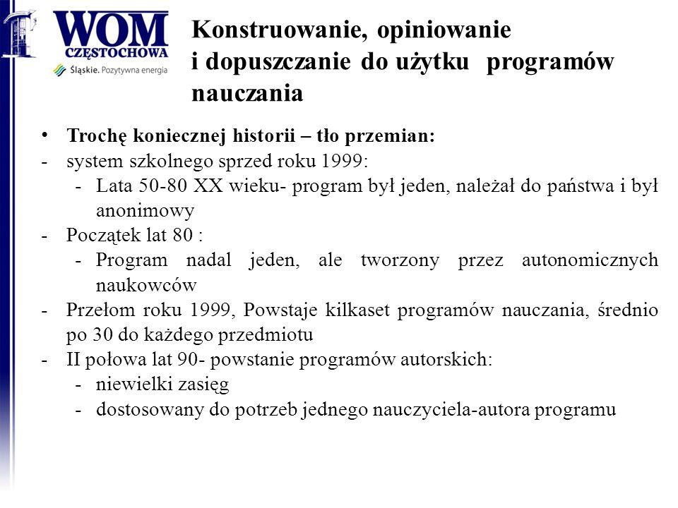Konstruowanie, opiniowanie i dopuszczanie do użytku programów nauczania Trochę koniecznej historii – tło przemian: -system szkolnego sprzed roku 1999: -Lata 50-80 XX wieku- program był jeden, należał do państwa i był anonimowy -Początek lat 80 : -Program nadal jeden, ale tworzony przez autonomicznych naukowców -Przełom roku 1999, Powstaje kilkaset programów nauczania, średnio po 30 do każdego przedmiotu -II połowa lat 90- powstanie programów autorskich: -niewielki zasięg -dostosowany do potrzeb jednego nauczyciela-autora programu 2014-01-15RODN WOM w Częstochowie4