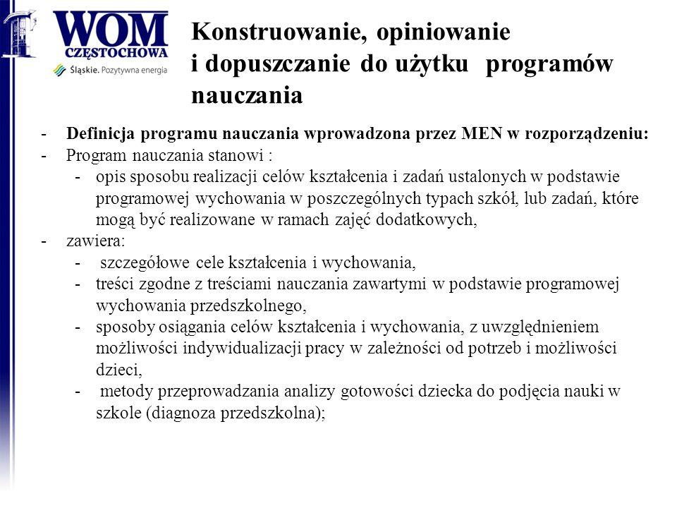 Konstruowanie, opiniowanie i dopuszczanie do użytku programów nauczania -Definicja programu nauczania wprowadzona przez MEN w rozporządzeniu: -Program