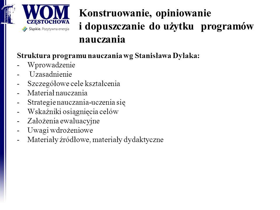 Konstruowanie, opiniowanie i dopuszczanie do użytku programów nauczania Struktura programu nauczania wg Stanisława Dylaka: -Wprowadzenie - Uzasadnieni