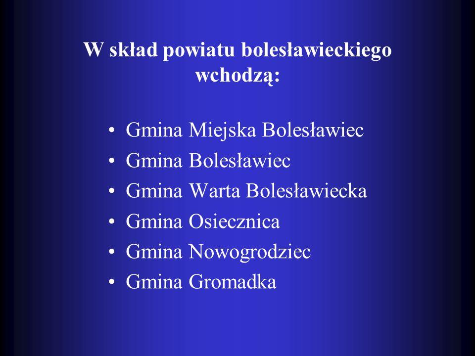 W skład powiatu bolesławieckiego wchodzą: Gmina Miejska Bolesławiec Gmina Bolesławiec Gmina Warta Bolesławiecka Gmina Osiecznica Gmina Nowogrodziec Gm