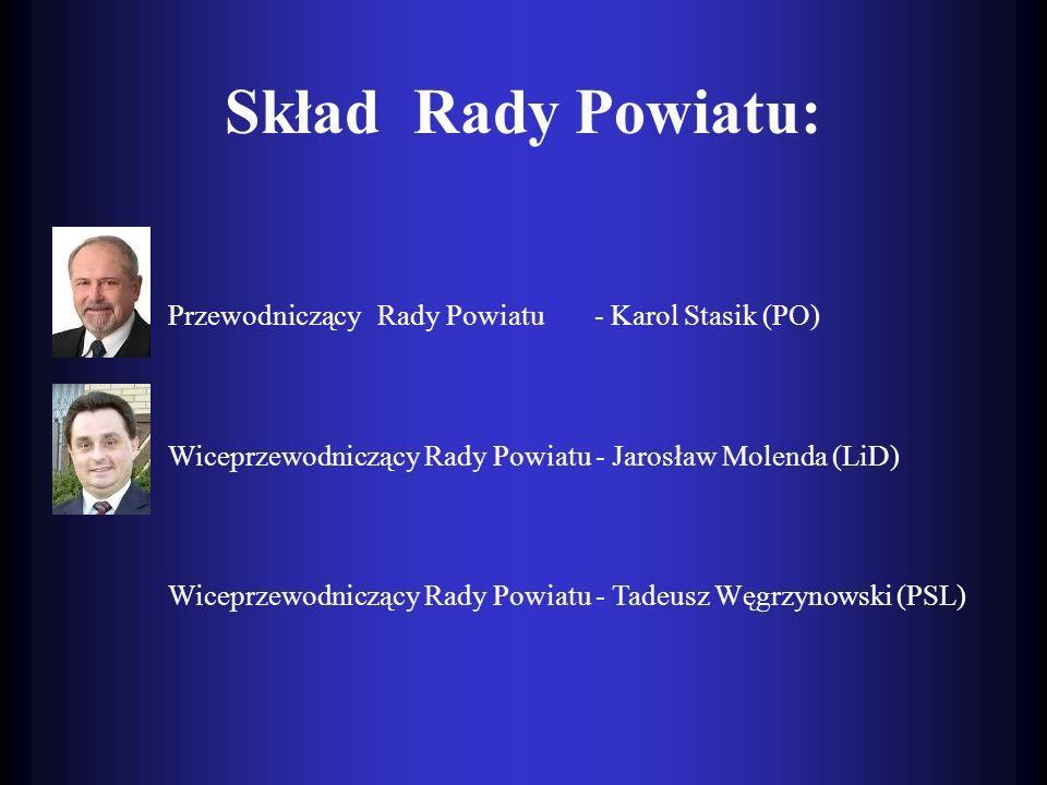 Skład Rady Powiatu: PrzewodniczącyRady Powiatu - Karol Stasik (PO) Wiceprzewodniczący Rady Powiatu - Jarosław Molenda (LiD) Wiceprzewodniczący Rady Po