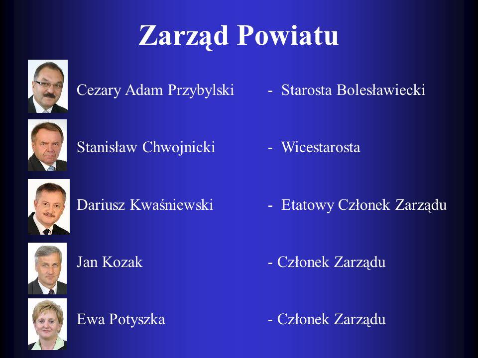 Zarząd Powiatu Cezary Adam Przybylski- Starosta Bolesławiecki Stanisław Chwojnicki- Wicestarosta Dariusz Kwaśniewski- Etatowy Członek Zarządu Jan Koza