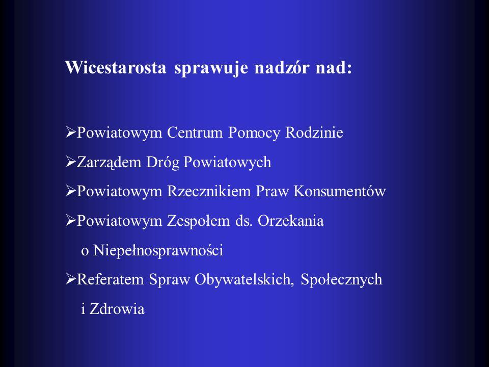 Wicestarosta sprawuje nadzór nad: Powiatowym Centrum Pomocy Rodzinie Zarządem Dróg Powiatowych Powiatowym Rzecznikiem Praw Konsumentów Powiatowym Zesp