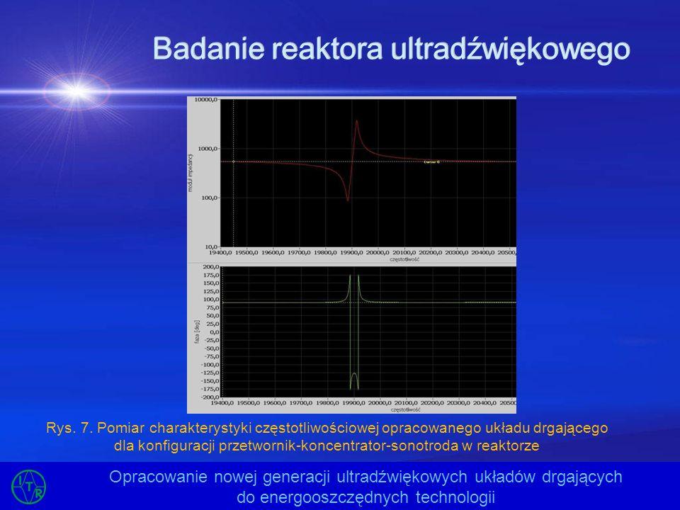 Badanie reaktora ultradźwiękowego Opracowanie nowej generacji ultradźwiękowych układów drgających do energooszczędnych technologii Rys. 7. Pomiar char