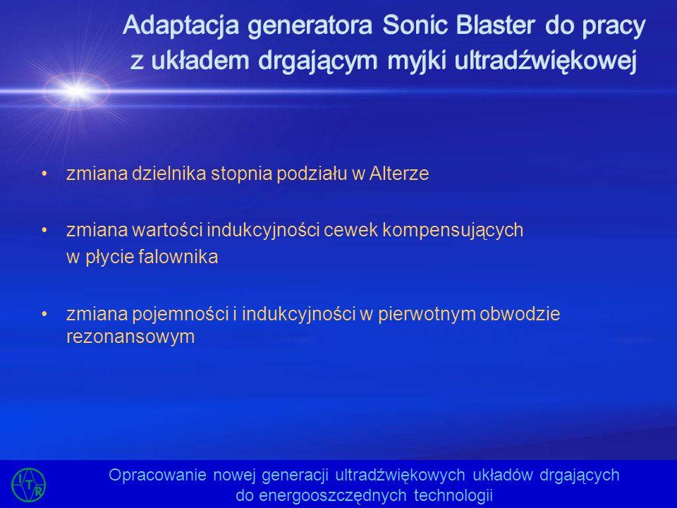 Opracowanie modelu reaktora ultradźwiękowego Opracowanie nowej generacji ultradźwiękowych układów drgających do energooszczędnych technologii opracowanie układu drgającego 20 kHz / 4 kW do pracy ciągłej –opracowanie przetwornika ultradźwiękowego –opracowanie koncentratora oraz sposobu jego mocowania –opracowanie sonotrody opracowanie konstrukcji zbiornika reaktora ultradźwiękowego –dobór materiału –zapewnienie szczelności reaktora –mocowanie czujników przepływu, temperatury i ciśnienia