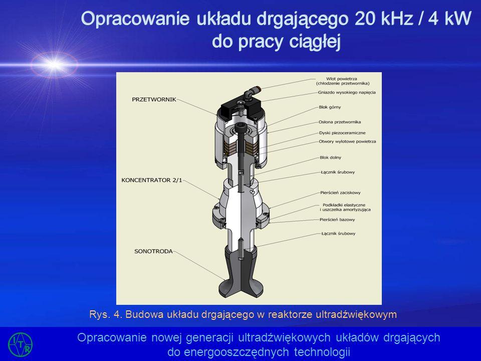 Opracowanie układu drgającego 20 kHz / 4 kW do pracy ciągłej Opracowanie nowej generacji ultradźwiękowych układów drgających do energooszczędnych tech