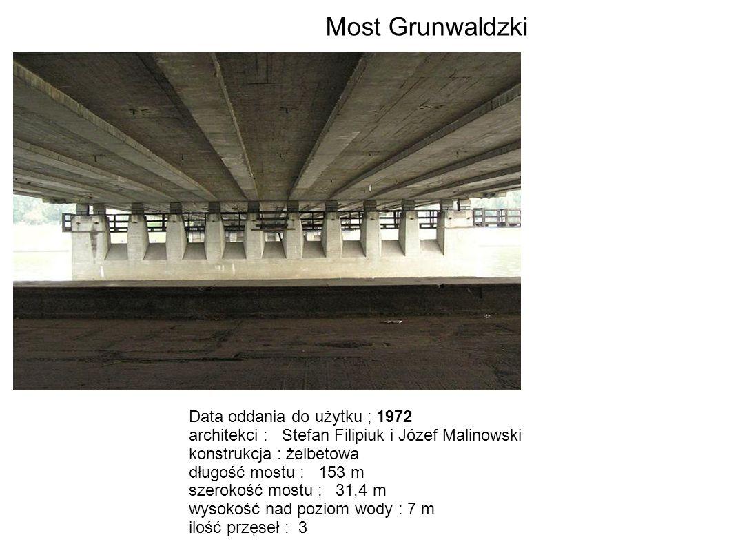 Data oddania do użytku ; 1972 architekci : Stefan Filipiuk i Józef Malinowski konstrukcja : żelbetowa długość mostu : 153 m szerokość mostu ; 31,4 m w