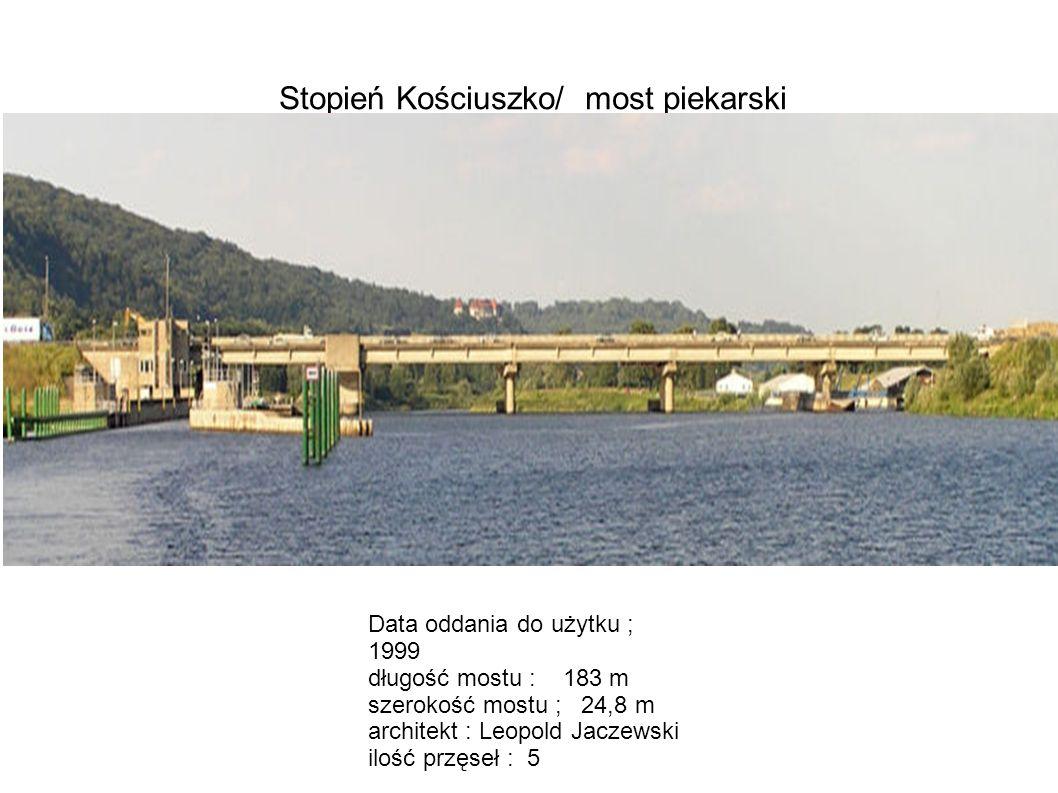 Stopień Kościuszko/ most piekarski Data oddania do użytku ; 1999 długość mostu : 183 m szerokość mostu ; 24,8 m architekt : Leopold Jaczewski ilość pr