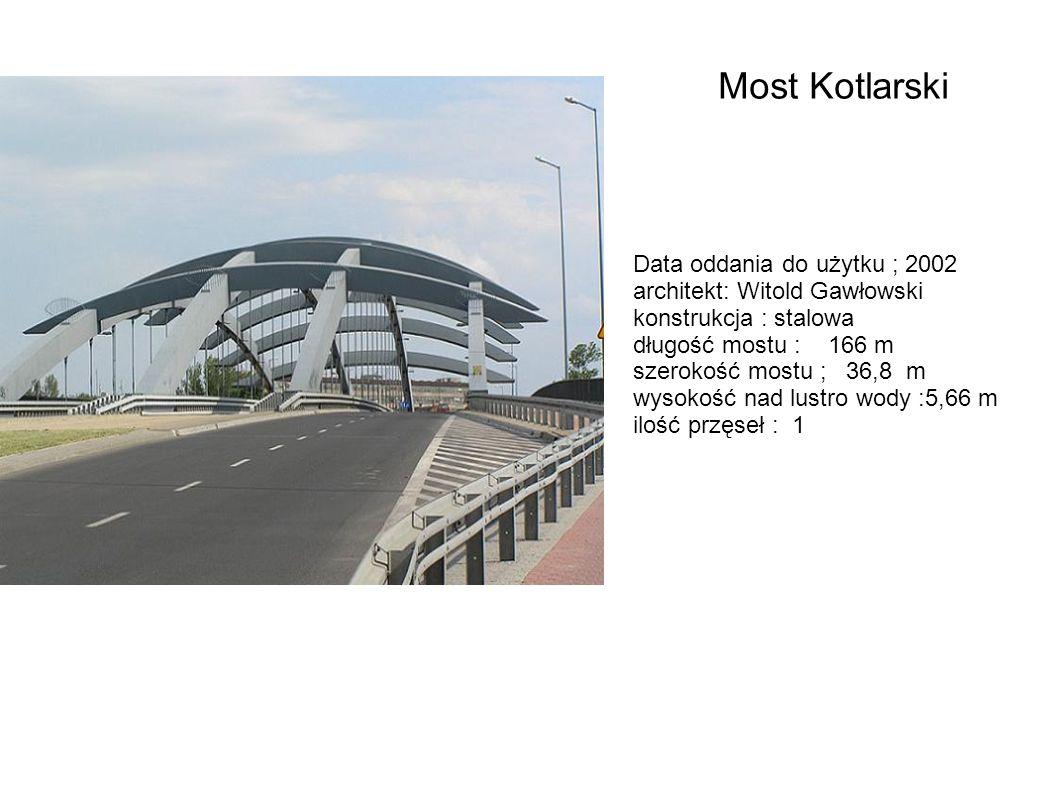 Data oddania do użytku ; 2002 architekt: Witold Gawłowski konstrukcja : stalowa długość mostu : 166 m szerokość mostu ; 36,8 m wysokość nad lustro wod