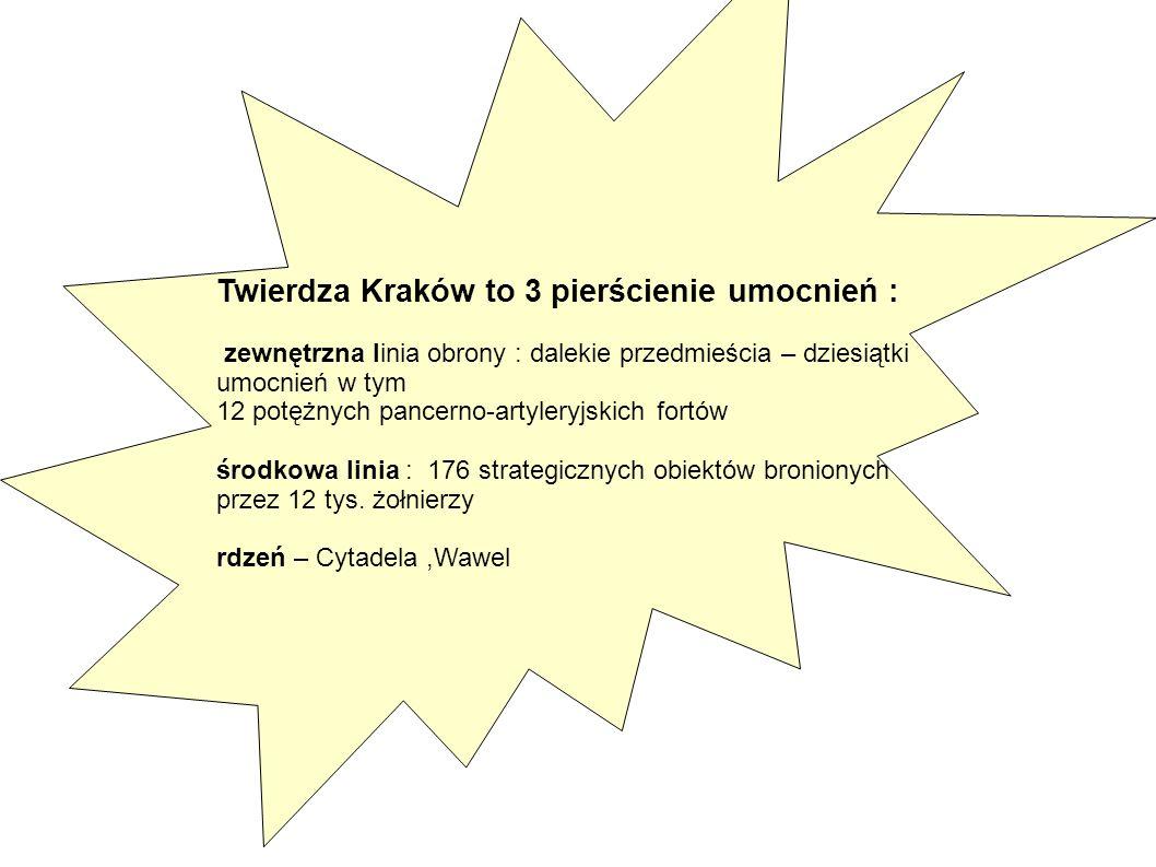 Twierdza Kraków to 3 pierścienie umocnień : zewnętrzna linia obrony : dalekie przedmieścia – dziesiątki umocnień w tym 12 potężnych pancerno-artyleryj