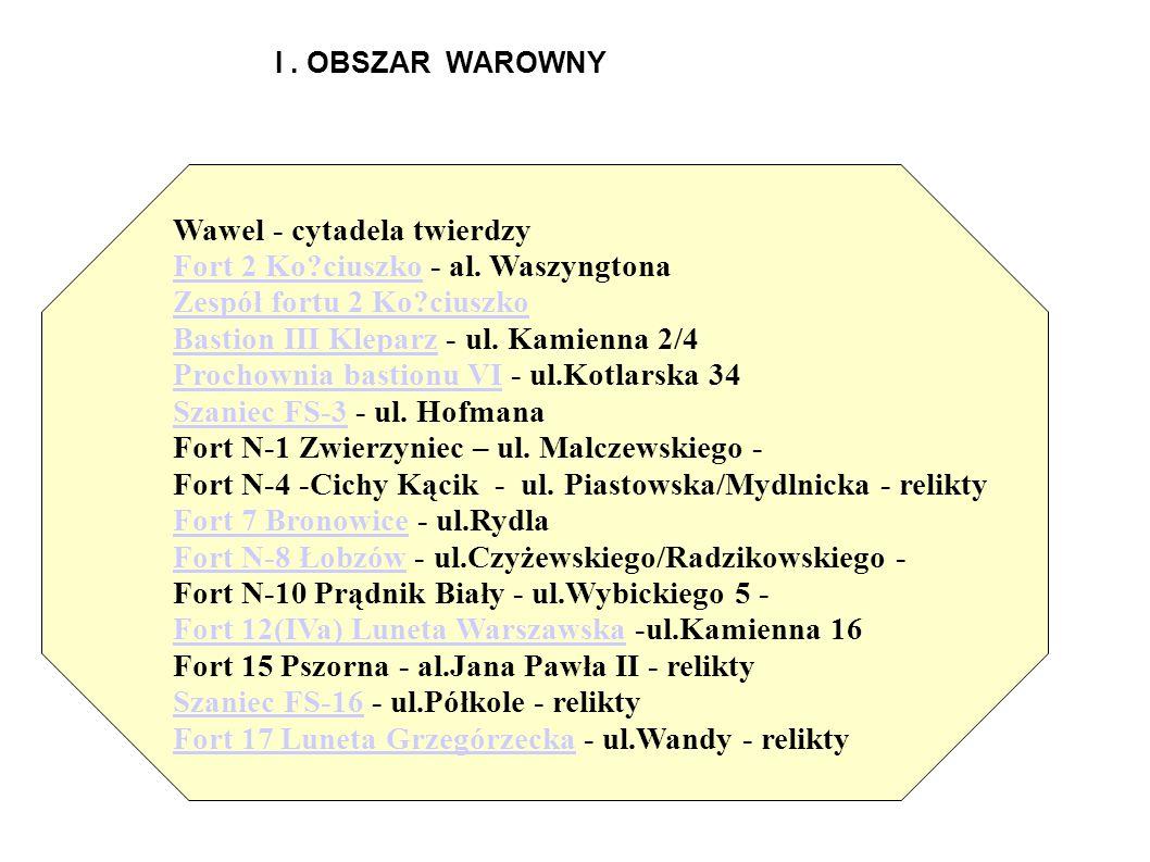 I. OBSZAR WAROWNY Wawel - cytadela twierdzy Fort 2 Ko?ciuszkoFort 2 Ko?ciuszko - al. Waszyngtona Zespół fortu 2 Ko?ciuszko Bastion III KleparzBastion