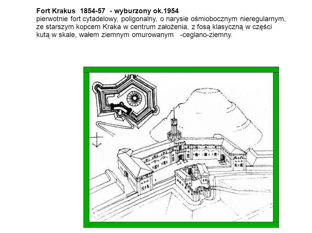 Fort Krakus 1854-57 - wyburzony ok.1954 pierwotnie fort cytadelowy, poligonalny, o narysie ośmiobocznym nieregularnym, ze starszym kopcem Kraka w cent