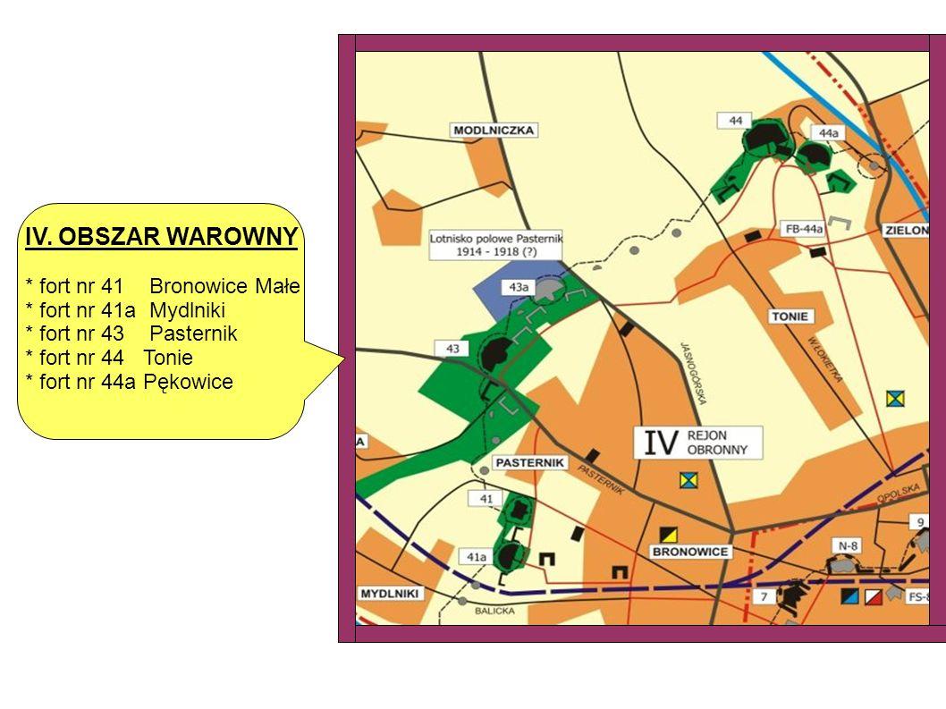 IV. OBSZAR WAROWNY * fort nr 41 Bronowice Małe * fort nr 41a Mydlniki * fort nr 43 Pasternik * fort nr 44 Tonie * fort nr 44a Pękowice