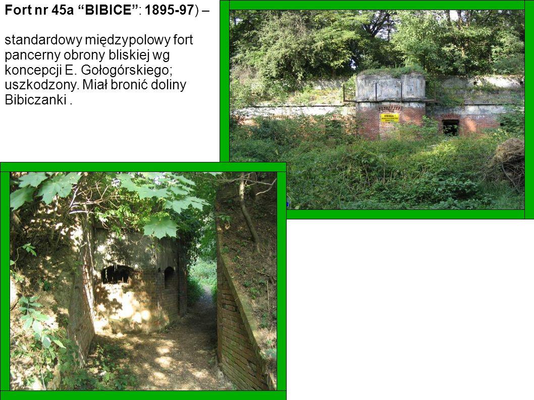 Fort nr 45a BIBICE: 1895-97) – standardowy międzypolowy fort pancerny obrony bliskiej wg koncepcji E. Gołogórskiego; uszkodzony. Miał bronić doliny Bi