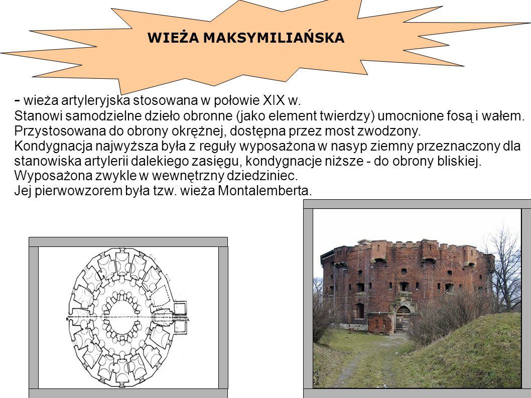 - wieża artyleryjska stosowana w połowie XIX w. Stanowi samodzielne dzieło obronne (jako element twierdzy) umocnione fosą i wałem. Przystosowana do ob
