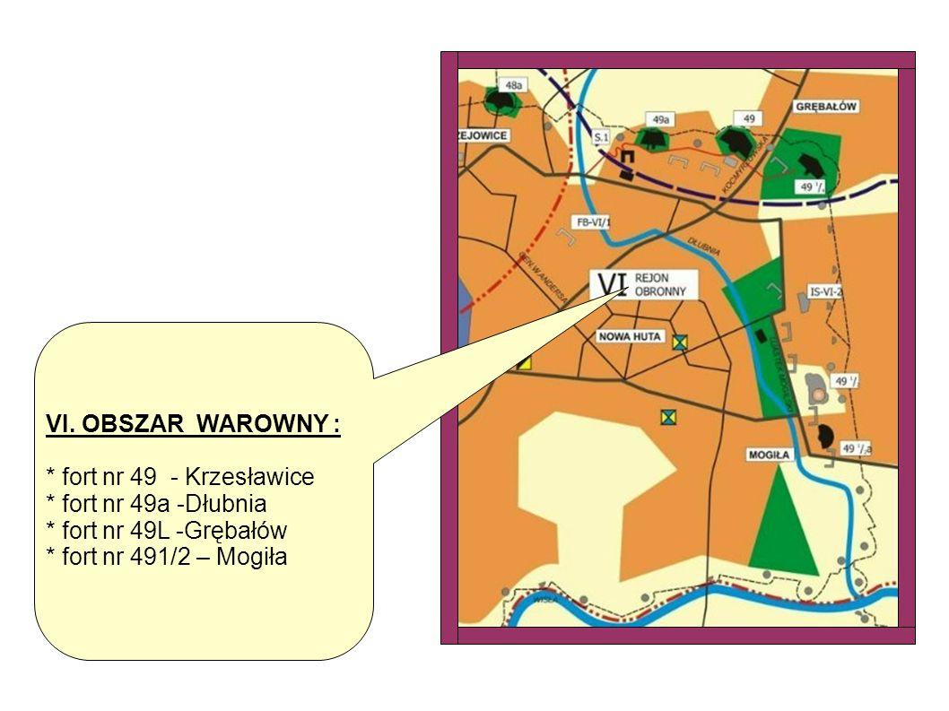 VI. OBSZAR WAROWNY : * fort nr 49 - Krzesławice * fort nr 49a -Dłubnia * fort nr 49L -Grębałów * fort nr 491/2 – Mogiła