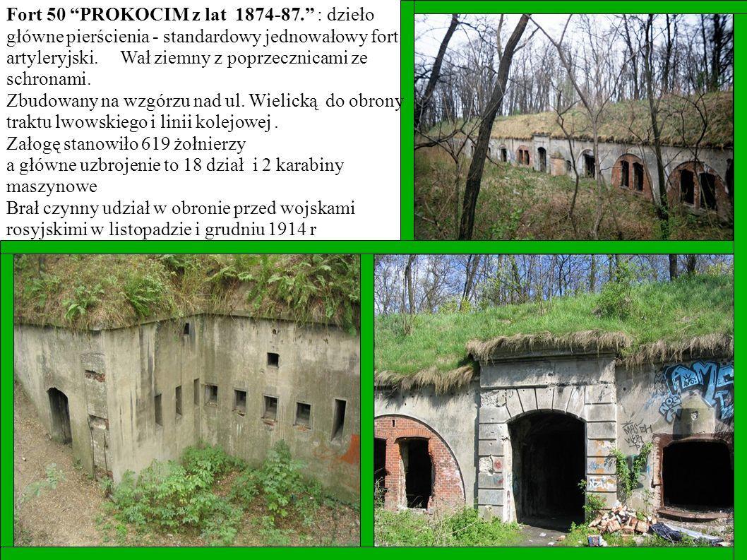 Fort 50 PROKOCIM z lat 1874-87. : dzieło główne pierścienia - standardowy jednowałowy fort artyleryjski. Wał ziemny z poprzecznicami ze schronami. Zbu