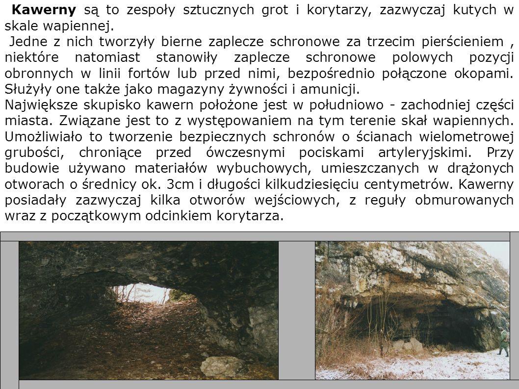 Kawerny są to zespoły sztucznych grot i korytarzy, zazwyczaj kutych w skale wapiennej. Jedne z nich tworzyły bierne zaplecze schronowe za trzecim pier