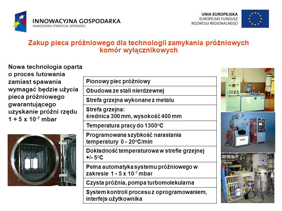 Zakup pieca próżniowego dla technologii zamykania próżniowych komór wyłącznikowych Nowa technologia oparta o proces lutowania zamiast spawania wymagać