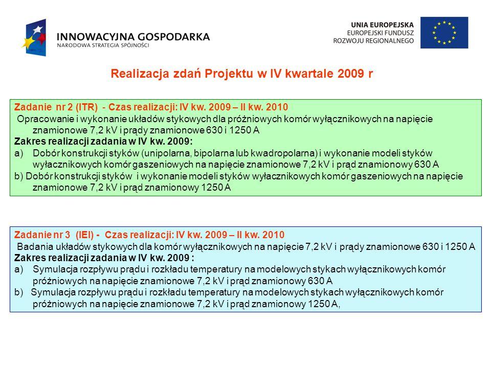 Realizacja zdań Projektu w IV kwartale 2009 r Zadanie nr 2 (ITR) - Czas realizacji: IV kw. 2009 – II kw. 2010 Opracowanie i wykonanie układów stykowyc