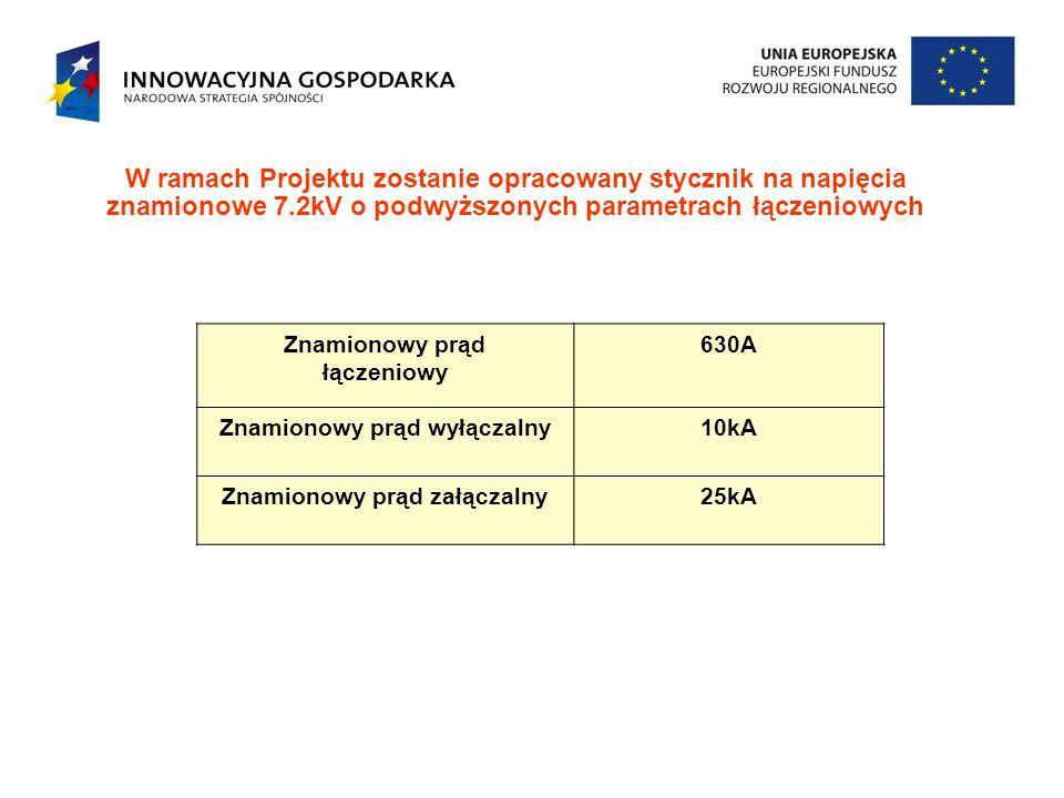 W ramach Projektu zostanie opracowany stycznik na napięcia znamionowe 7.2kV o podwyższonych parametrach łączeniowych Znamionowy prąd łączeniowy 630A Z
