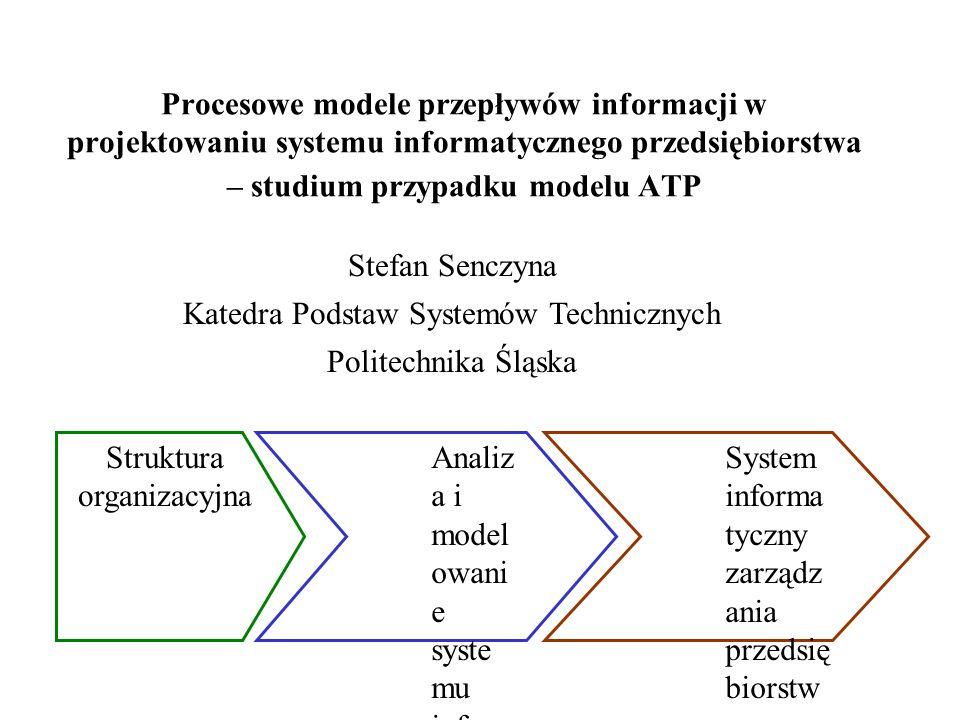 Procesowe modele przepływów informacji w projektowaniu systemu informatycznego przedsiębiorstwa – studium przypadku modelu ATP Stefan Senczyna Katedra