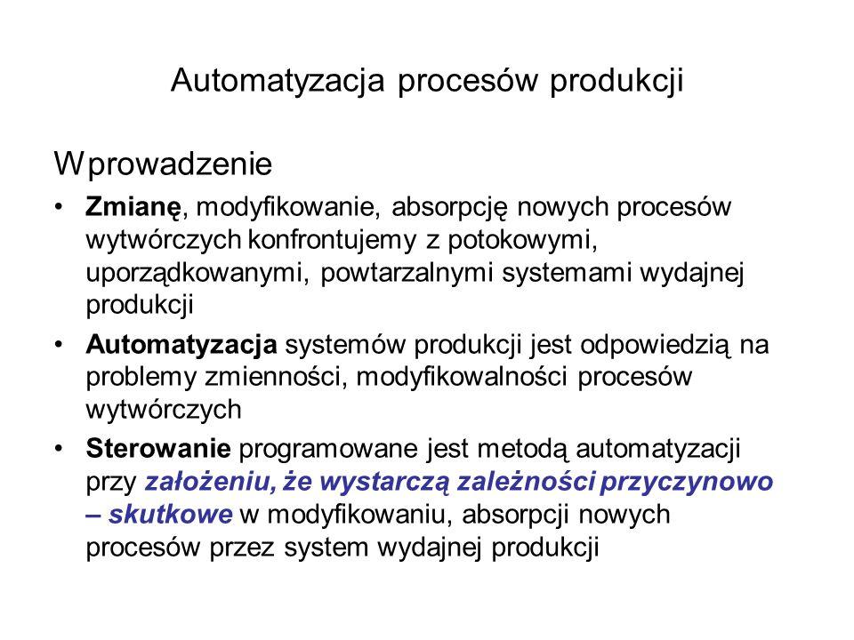 Sterowanie programowane w automatyzacji systemów produkcyjnych Automatyzacja konfrontuje strukturę, właściwości produktów, wyrobów z powtarzalnymi, cyklicznymi, uporządkowanymi działaniami powodującymi przepływy informacji, energii, substancji Sterowanie programowane jest rozwiązaniem problemu konfrontacji produktów, wyrobów z przepływami informacji, energii, substancji Sterowanie programowane stymulując powtarzalnymi, cyklicznymi, uporządkowanymi działaniami powoduje, że produkty, wyroby osiągają żądane właściwości