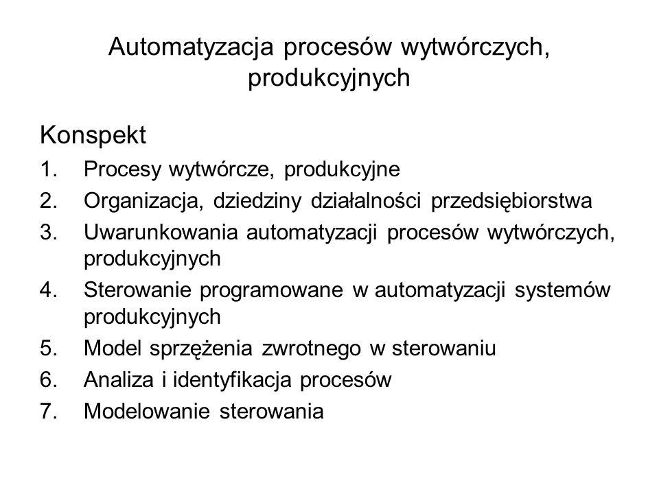 1.1 Automatyzacja Przedstaw definicję automatyzacji procesów wytwórczych W oparciu o definicję automatyzacji wyjaśnij zastosowanie sprzężenia zwrotnego w sterowaniu (model systemu sterowania)