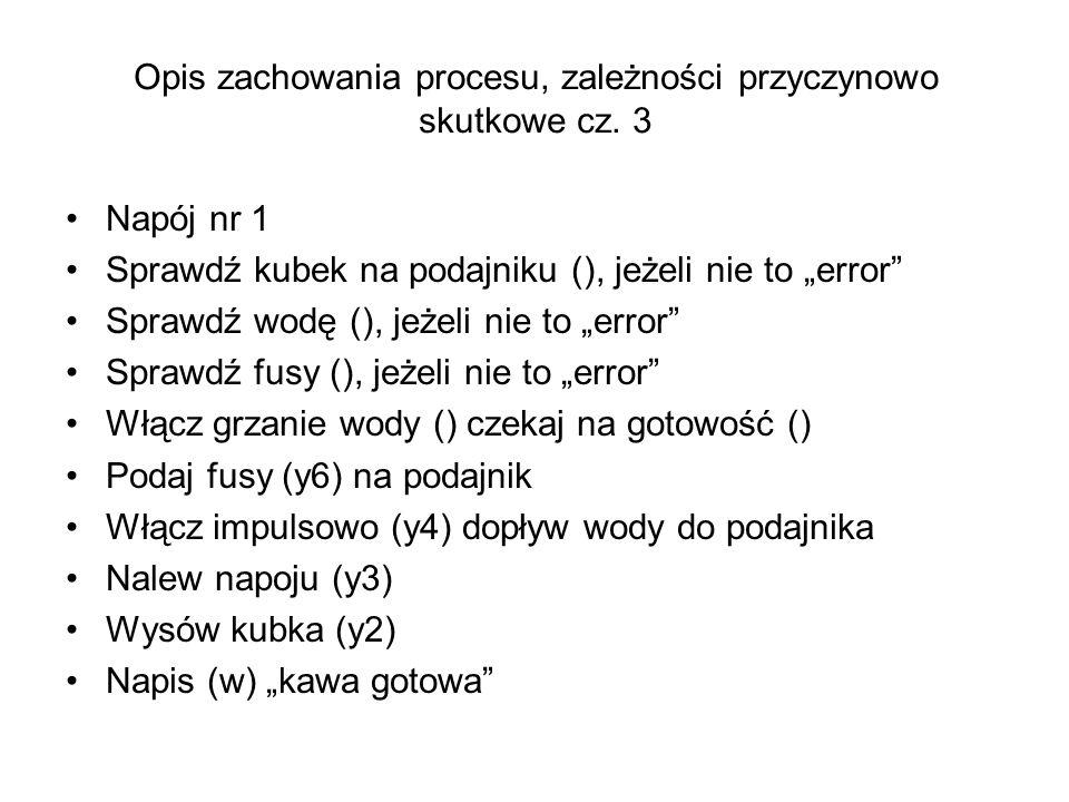 Napój nr 1 Sprawdź kubek na podajniku (), jeżeli nie to error Sprawdź wodę (), jeżeli nie to error Sprawdź fusy (), jeżeli nie to error Włącz grzanie
