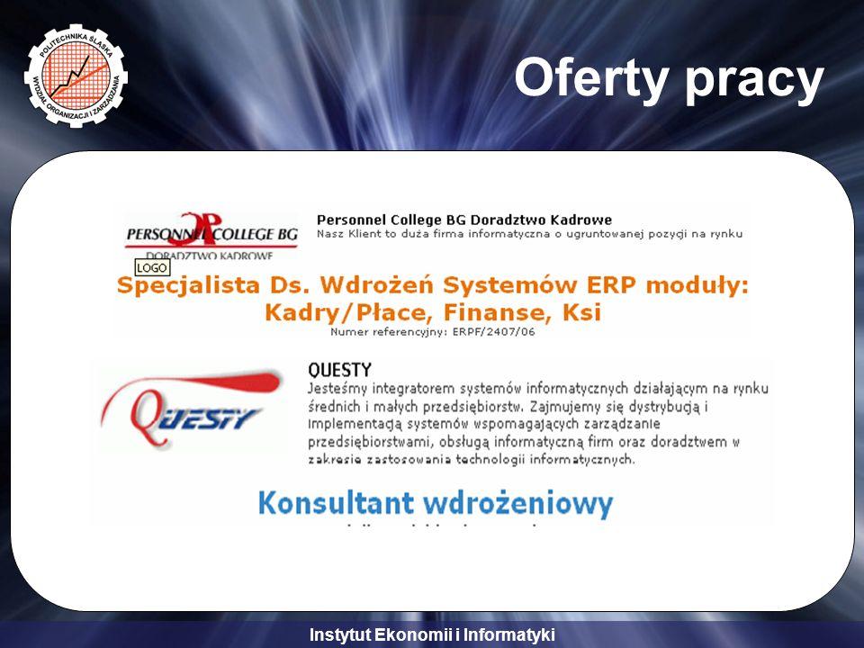 Instytut Ekonomii i Informatyki Oferty pracy