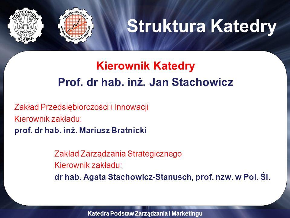 Katedra Podstaw Zarządzania i Marketingu Struktura Katedry Kierownik Katedry Prof. dr hab. inż. Jan Stachowicz Zakład Przedsiębiorczości i Innowacji K