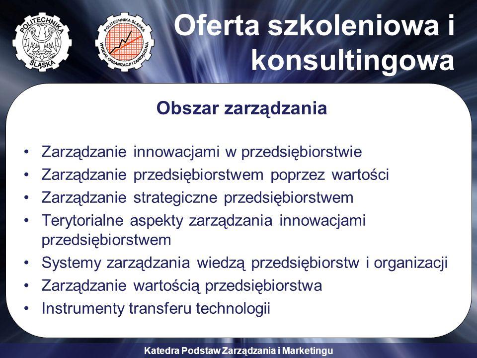 Katedra Podstaw Zarządzania i Marketingu Oferta szkoleniowa i konsultingowa Obszar zarządzania Zarządzanie innowacjami w przedsiębiorstwie Zarządzanie