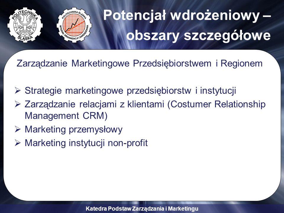 Katedra Podstaw Zarządzania i Marketingu Potencjał wdrożeniowy – obszary szczegółowe Zarządzanie Marketingowe Przedsiębiorstwem i Regionem Strategie m
