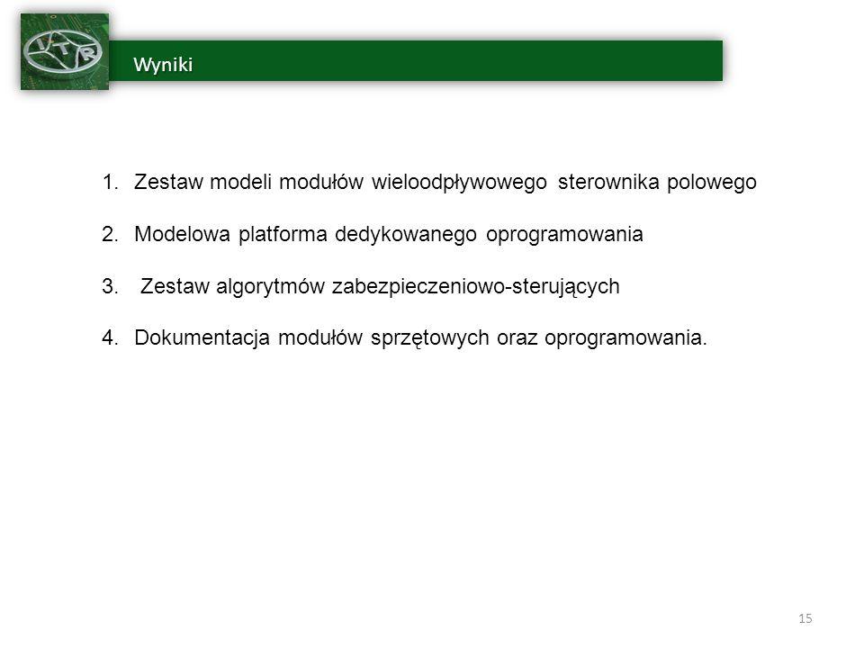 Wyniki Wyniki 15 1.Zestaw modeli modułów wieloodpływowego sterownika polowego 2.Modelowa platforma dedykowanego oprogramowania 3.