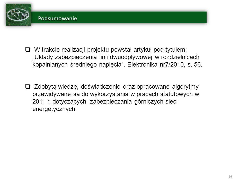Podsumowanie Podsumowanie 16 W trakcie realizacji projektu powstał artykuł pod tytułem: Układy zabezpieczenia linii dwuodpływowej w rozdzielnicach kopalnianych średniego napięcia.