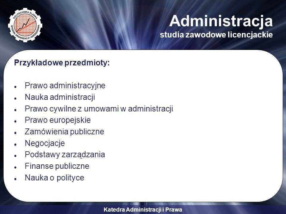 Katedra Administracji i Prawa Przykładowe przedmioty prowadzone dla studentów innych kierunków Prawo Elementy prawa i ochrony własności intelektualnej Prawo Unii Europejskiej Prawo pracy Prawo cywilne Prawo handlowe Prawo gospodarcze Prawo autorskie Ochrona własności intelektualnej