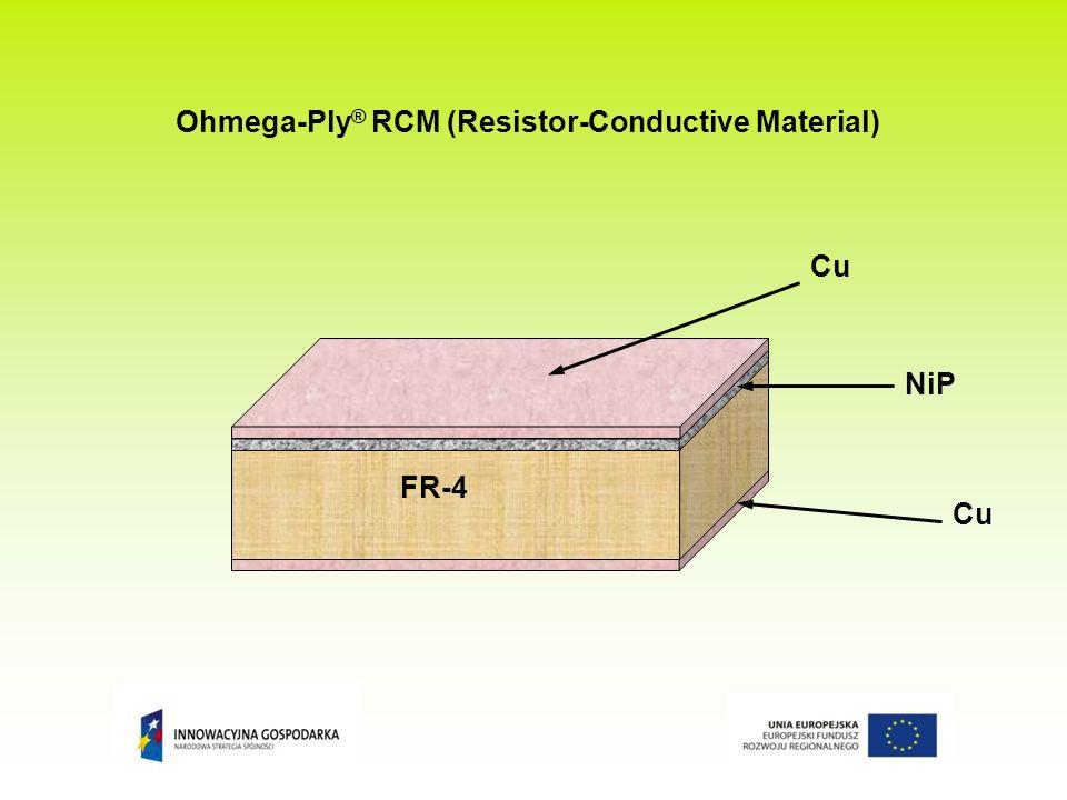 Podstawowe właściwości materiałów systemu Ohmega-Ply® RCM Typ materiału (jednostronny ; dwustronny) Rezystywność Tolerancja rezystywności Grubość warstwy rezystywnej Maksymalny współczynnik zmiany rezystancji w funkcji temperatury 1R10/1 ; 1R10/1R1010 Ω / ± 5 %1,00 µm -50 ppm / °C 1R25/1 ; 1R25/1R2525 Ω / ± 5 %0,40 µm -50 ppm / °C 1R50/1 ; 1R50/1R5050 Ω / ± 5 %0,20 µm -60 ppm / °C 1A100/1 ; 1R100/1R100100 Ω / ± 5 %0,10 µm -80 ppm / °C 1A250/1 ; 1R250/1R250250 Ω / ± 10 %0,05 µm+100 ppm / °C