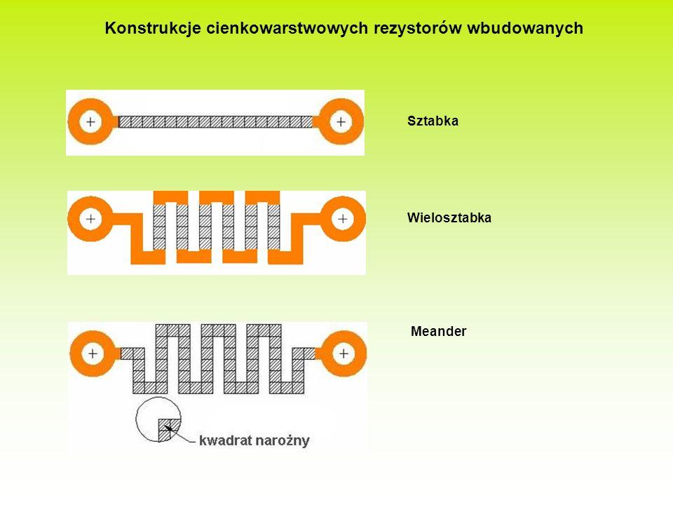Badania doświadczalne procesu wbudowywania rezystorów wewnątrz płytki drukowanej były oparte na próbach wytwarzania rezystorów o różnej konstrukcji.